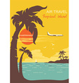 airplane flying on tropical paradise summer sun vector image vector image