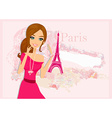 beautiful women Shopping in Paris - card vector image vector image