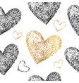 black gold hearts seamless patter vector image vector image