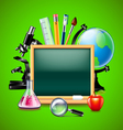 Blank green blackboard and other school tools vector image