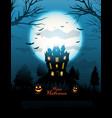 blue halloween haunted house background vector image vector image