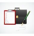 briefcase cuitcase checklist and pen vector image vector image