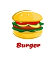 Burger with meat fresh vegetables on bun vector image