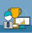 businessman computer and trophy digital marketing vector image
