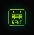 car rental green icon vector image