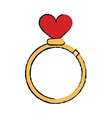 cartoon romance rings love heart wedding symbol vector image