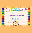 certificate template for art award with color