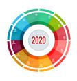colorful round calendar 2020 design print vector image