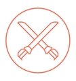 Crossed saber line icon vector image vector image