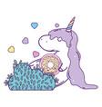 cute unicorn with donut kawaii character vector image vector image