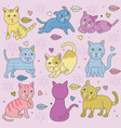 doodle cats in many pose pastel colors vector image vector image