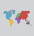 doodle style world map look like children craft vector image vector image