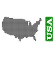 dotted map of usa and grunge rectangle rounded vector image vector image