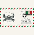 envelope or postcard with ponte di rialto bridge vector image vector image