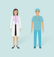 female doctor and male nurse with shadows vector image vector image