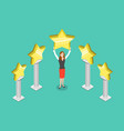 five stars rating flat isometric concept vector image vector image