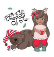 girl bear merry christmas color vector image vector image