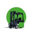 green electric forklift truck vector image
