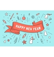 greeting card with red ribbon and happy new year vector image