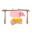 grilled pig meat on spit roasting pork bbq piglet vector image