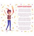 happy birthday invitation card man with firework vector image vector image