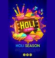 happy holi festival poster design vector image