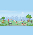 happy people enjoying at park vector image