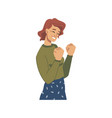 happy woman celebrating success or luck gesture vector image