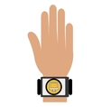 human hand with square watch and media icon vector image vector image