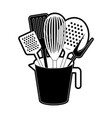 jar with kitchen utensils black silhouette vector image vector image