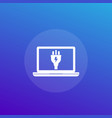 laptop with electric plug icon vector image vector image