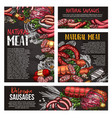 meat sausage and spice herb blackboard banner vector image vector image