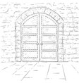 medieval castle doors outline hand drawn sketch vector image vector image