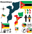Mozambique map vector image vector image