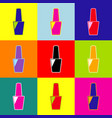 nail polish sign pop-art style colorful vector image