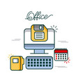 office computer calendar folder file diskette work vector image