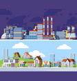 polluted urban landscape colorful flat vector image