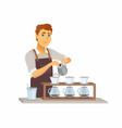 pour over coffee - cartoon people characters vector image vector image