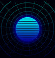 retrowave blue gradient sun with circular laser vector image vector image
