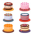 set birthday cakes on white background vector image