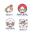 set of abstract logos for beauty or hair vector image