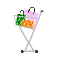 shopping cart with bags on vector image vector image
