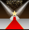 Stage podium with red carpet and star vector image vector image