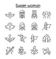 super woman icon set in thin line style vector image