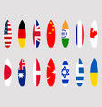 surfboards with flags of the world set vector image vector image