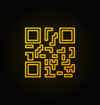 yellow qr code concept line icon on dark vector image