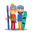 Young couple with ski and snowboard vector image