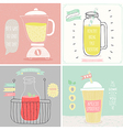 Smoothie cards - Hand drawn style vector image