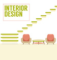 Interior Design Stairs With Chairs Set vector image