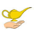 simple graphic of a hand with a magic lamp vector image